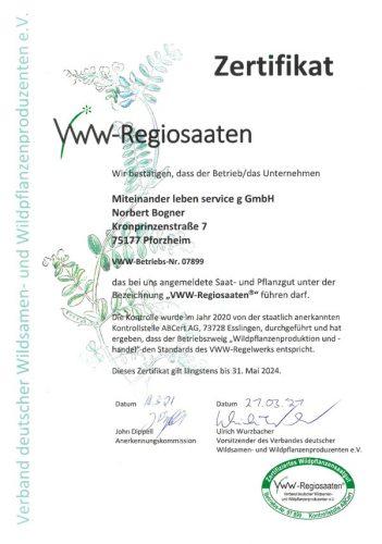 VWW-Regiosaaten-Zertifikat